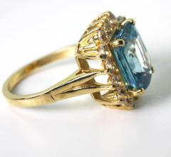 Old Hollywood Intense Glittering Natural Zircon Sapphire Gold Ring - 1583821