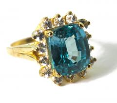 Old Hollywood Intense Glittering Natural Zircon Sapphire Gold Ring - 1583822