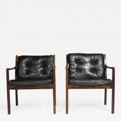 Ole Wanscher Ole Wanscher Rosewood Lounge Chairs in Original Leather - 1076846