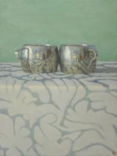 Olga Antonova Silver Cups on Patterned Cloth - 136697