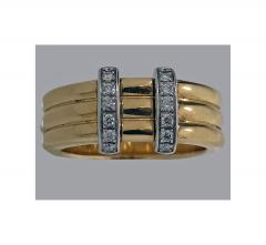 Omega 18K Yellow Gold Three Band Ring French Marks - 480602