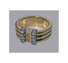Omega 18K Yellow Gold Three Band Ring French Marks - 480603