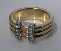 Omega 18K Yellow Gold Three Band Ring French Marks - 480604
