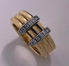 Omega 18K Yellow Gold Three Band Ring French Marks - 480605