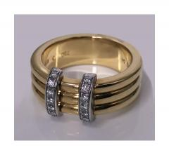 Omega 18K Yellow Gold Three Band Ring French Marks - 480607