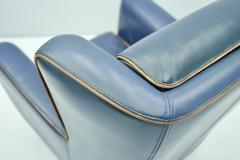 One of Three Blue Leather Lounge Chair Berg re by Baxter Italy - 1849420