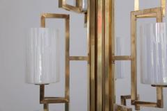 One of Two Extraordinary Huge Brass and Iridescent Glass Chandeliers - 550638