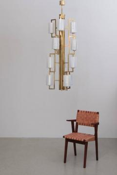 One of Two Extraordinary Huge Brass and Iridescent Glass Chandeliers - 550643