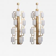 One of Two Extraordinary Huge Brass and Iridescent Glass Chandeliers - 560918