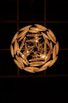 One of Two White Iridescent Murano Glass Disc Chandelier Attributed to Vistosi - 1184759