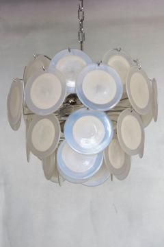 One of Two White Iridescent Murano Glass Disc Chandelier Attributed to Vistosi - 1184761