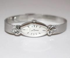 One of a Kind Omega Collectible 14KT White Gold Diamond Vintage Wristwatch - 1706903