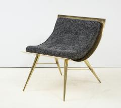 One of a Kind Sculptural Solid Brass and Grey Tweed Fabric Accent Chair Italy - 1713010