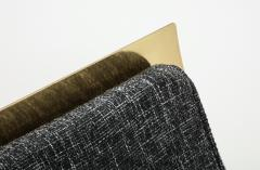 One of a Kind Sculptural Solid Brass and Grey Tweed Fabric Accent Chair Italy - 1713021