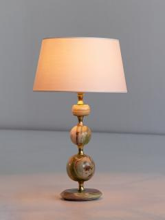 Onyx and Brass Table Lamp with Ivory Shade Italy 1970s - 1119102