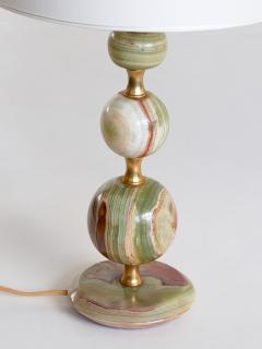 Onyx and Brass Table Lamp with Ivory Shade Italy 1970s - 1119105
