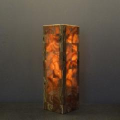 Onyx and Marble Industries Pair of Square based Orange Red Onyx Tower Table Lamps Mexico 20 H x 6 D x 6 W - 1135544