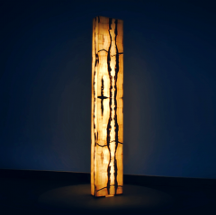 Onyx and Marble Industries Rectangular base New Tower shaped Onyx Floor Lamp Mexico 60 H x 10 L x 4 W - 1136362