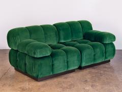 Open Air Modern Forest Green Velvet Custom Modular Tufted Loveseat - 932497