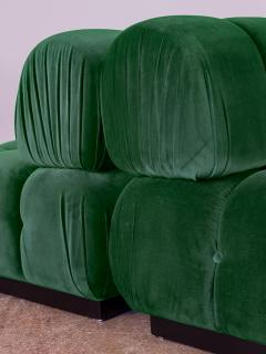Open Air Modern Forest Green Velvet Custom Modular Tufted Loveseat - 932500