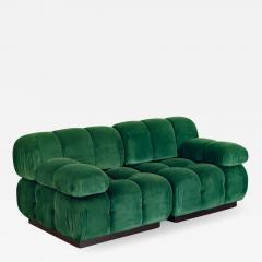 Open Air Modern Forest Green Velvet Custom Modular Tufted Loveseat - 933336