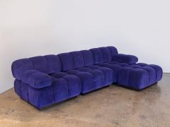 Open Air Modern Purple Blue Velvet Custom Modular Tufted Loveseat with Ottoman - 932485
