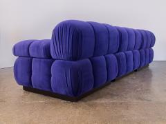 Open Air Modern Purple Blue Velvet Custom Modular Tufted Loveseat with Ottoman - 932486