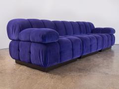 Open Air Modern Purple Blue Velvet Custom Modular Tufted Loveseat with Ottoman - 932487