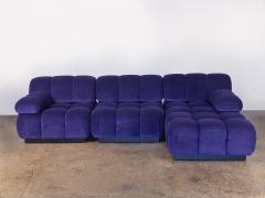 Open Air Modern Purple Blue Velvet Custom Modular Tufted Loveseat with Ottoman - 932489