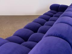 Open Air Modern Purple Blue Velvet Custom Modular Tufted Loveseat with Ottoman - 932490