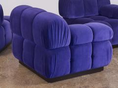 Open Air Modern Purple Blue Velvet Custom Modular Tufted Loveseat with Ottoman - 932491