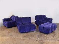 Open Air Modern Purple Blue Velvet Custom Modular Tufted Loveseat with Ottoman - 932492