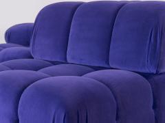 Open Air Modern Purple Blue Velvet Custom Modular Tufted Loveseat with Ottoman - 932493