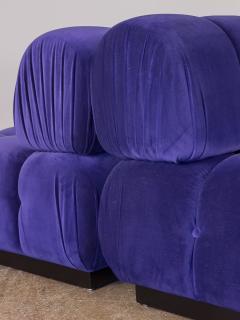 Open Air Modern Purple Blue Velvet Custom Modular Tufted Loveseat with Ottoman - 932494