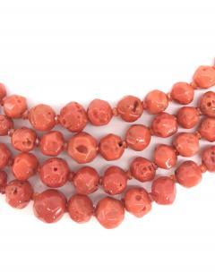 Orange Corals and Orange Zircon Multi Strang Necklaces with Bakelite Clasp - 1190416