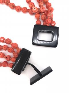Orange Corals and Orange Zircon Multi Strang Necklaces with Bakelite Clasp - 1190417