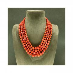 Orange Corals and Orange Zircon Multi Strang Necklaces with Bakelite Clasp - 1190418