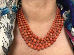 Orange Corals and Orange Zircon Multi Strang Necklaces with Bakelite Clasp - 1190419