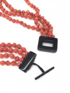 Orange Corals and Orange Zircon Multi Strang Necklaces with Bakelite Clasp - 1190420