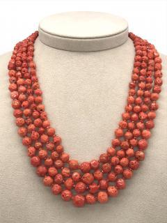 Orange Corals and Orange Zircon Multi Strang Necklaces with Bakelite Clasp - 1190421