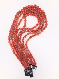 Orange Corals and Orange Zircon Multi Strang Necklaces with Bakelite Clasp - 1190422
