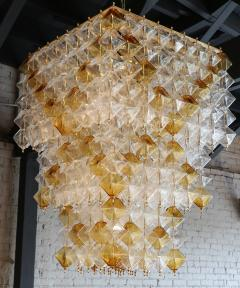 Orange and Clear Murano Glass Tiered Chandelier - 497607