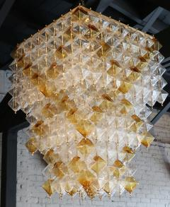 Orange and Clear Murano Glass Tiered Chandelier - 497610