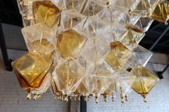 Orange and Clear Murano Glass Tiered Chandelier - 497614