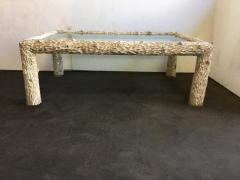 Organic Carved Wood and Glass Top Coffee Table - 1171626