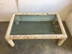 Organic Carved Wood and Glass Top Coffee Table - 1171628