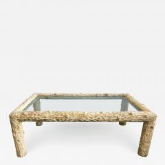 Organic Carved Wood and Glass Top Coffee Table - 1172411