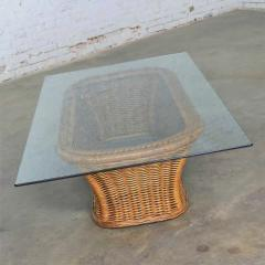 Organic modern woven wicker rattan coffee table with rectangular glass top - 1693080