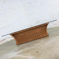 Organic modern woven wicker rattan coffee table with rectangular glass top - 1693090