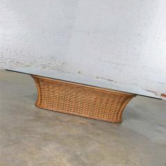 Organic modern woven wicker rattan coffee table with rectangular glass top - 1693142
